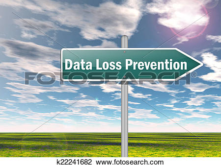 Clip Art of Signpost Data Loss Prevention k22241682.