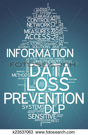 Drawing of Word Cloud Data Loss Prevention k23537063.