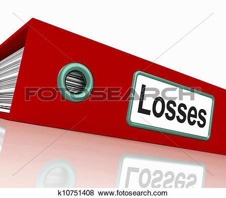 Stock Illustration of Losses File Contains Accounting Documents.