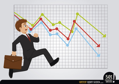 Late Running Businessman with Losses Chart, Vector Images.