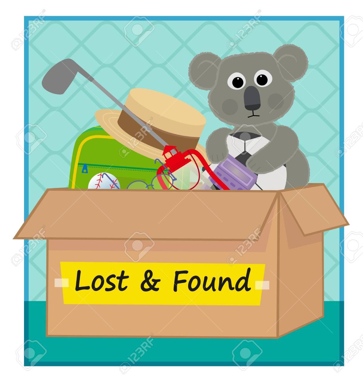 clip art of a lost and found box with lost items. Eps10.