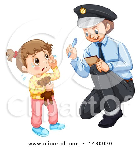 Clipart of a Black Stick Police Woman.