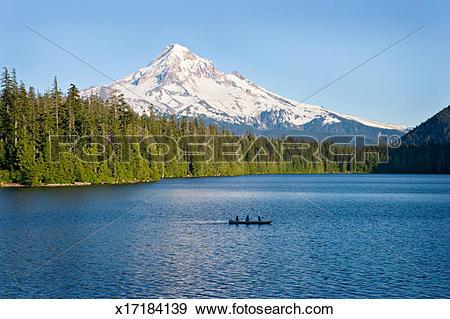 Stock Photograph of USA, Oregon, Mt Hood, people canoeing on Lost.