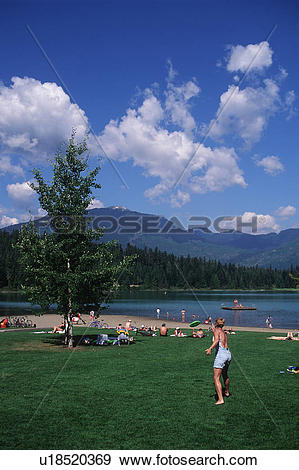 Stock Photograph of Lost lake play area in summer, Whistler.