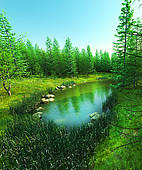 Drawing of Lost lake in the forest k24313443.