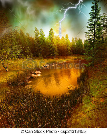 Stock Illustrations of Lost lake in the storm.