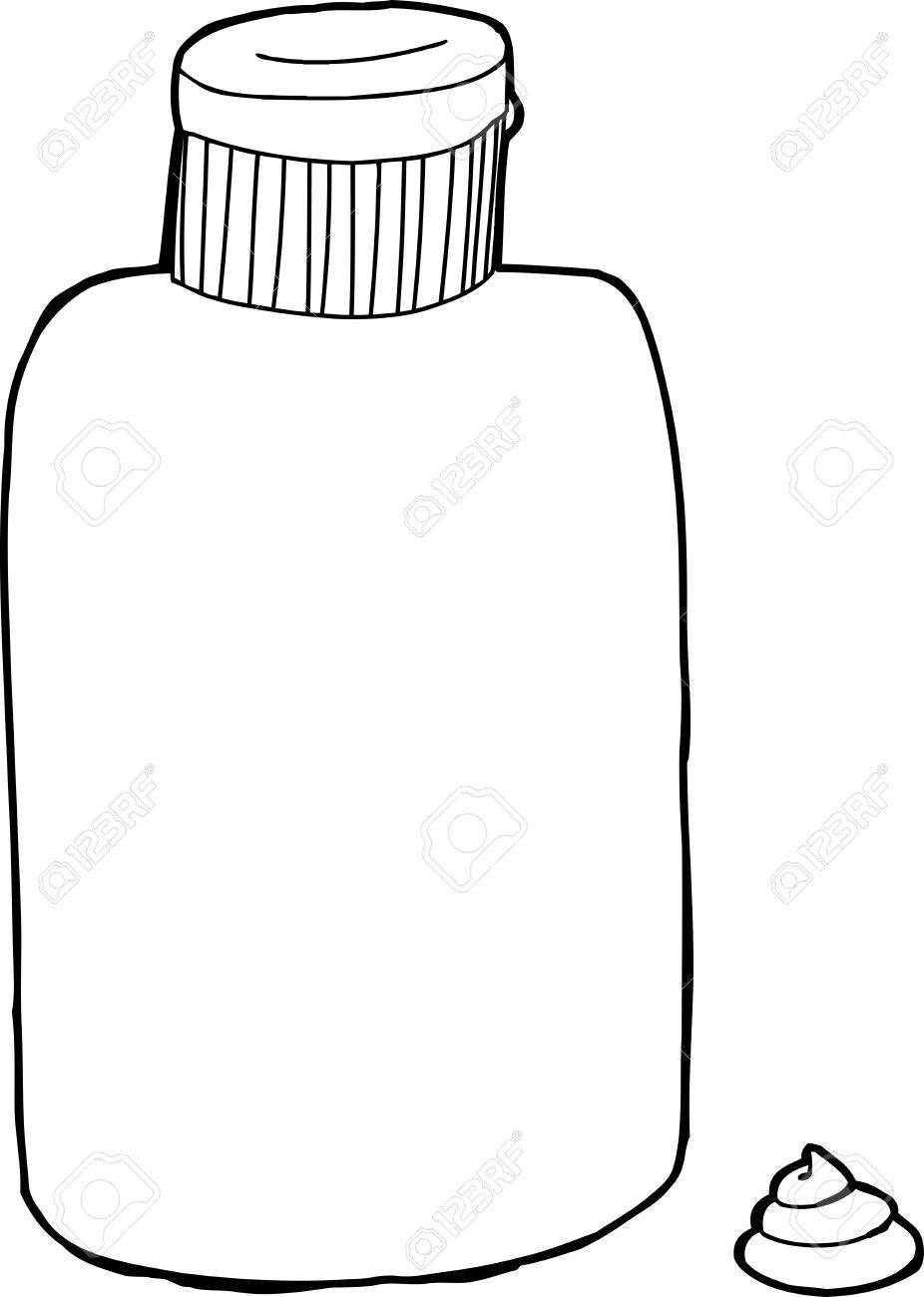 Black outline lotion bottle with cream over white.