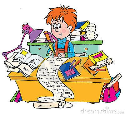 Cramming Homework Clipart.