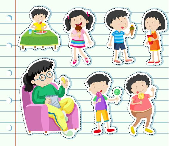 Sticker design with many kids eating sweets.