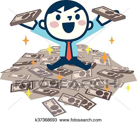 Man got a lot of money Clipart.