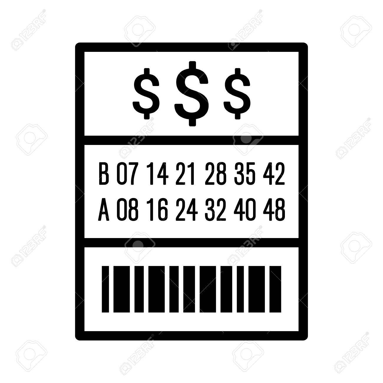 American lottery / lotto ticket line art vector icon for websites.