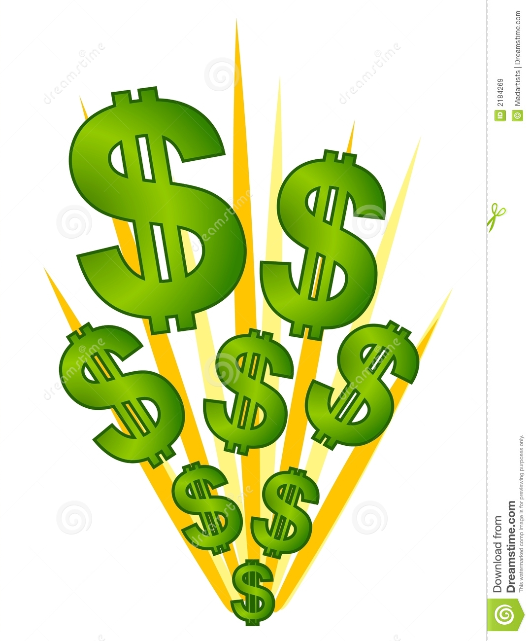 Dollars Signs Cash Explosion Stock Vector.