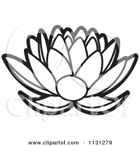 Clipart Of An Outlined Lotus Flower.
