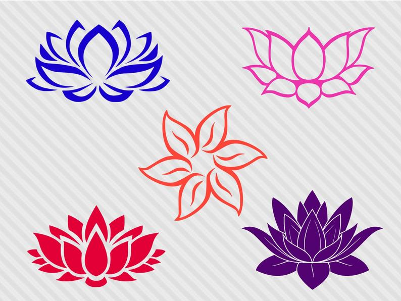Lotus flower svg bundle, lotus svg, lotus flower clipart, lotus flower  silhouette, cut files for cricut and silhouette, png, dxf.