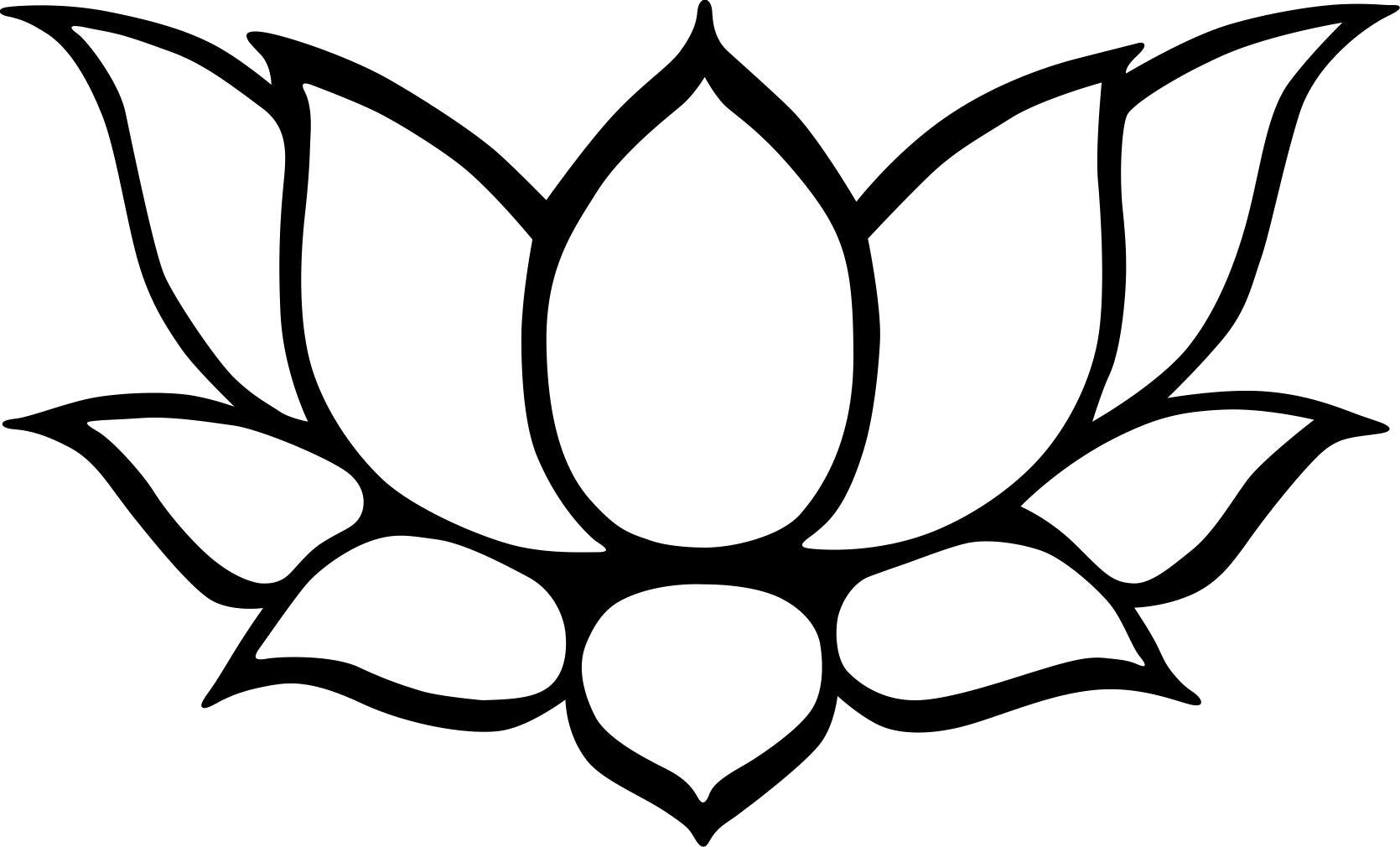 Lotus Flower Clipart Black White.
