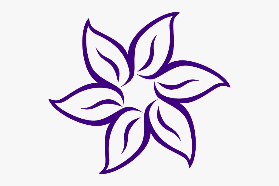 Cartoon Flowers Clip Art Purple Flower Outline.