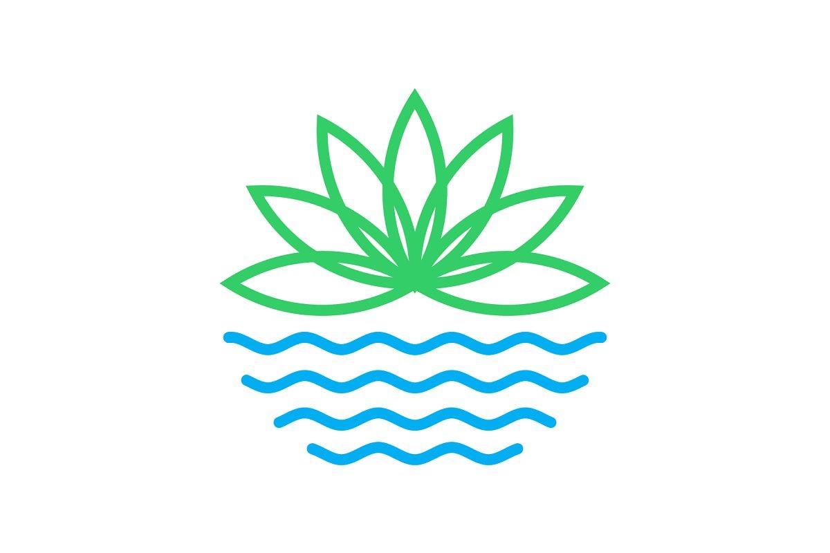 line art lotus flower logo.