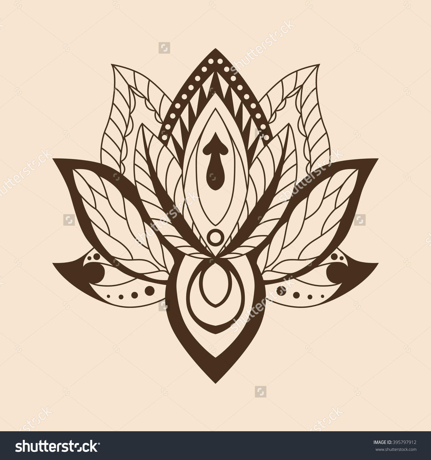 Lotus Mandala Vector Ornamental Lotus Ethnic Stock Vector.