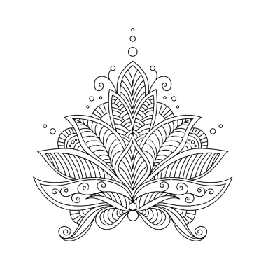 Lotus Mandala Black And White Tattoo Flower, henna, lotus and.