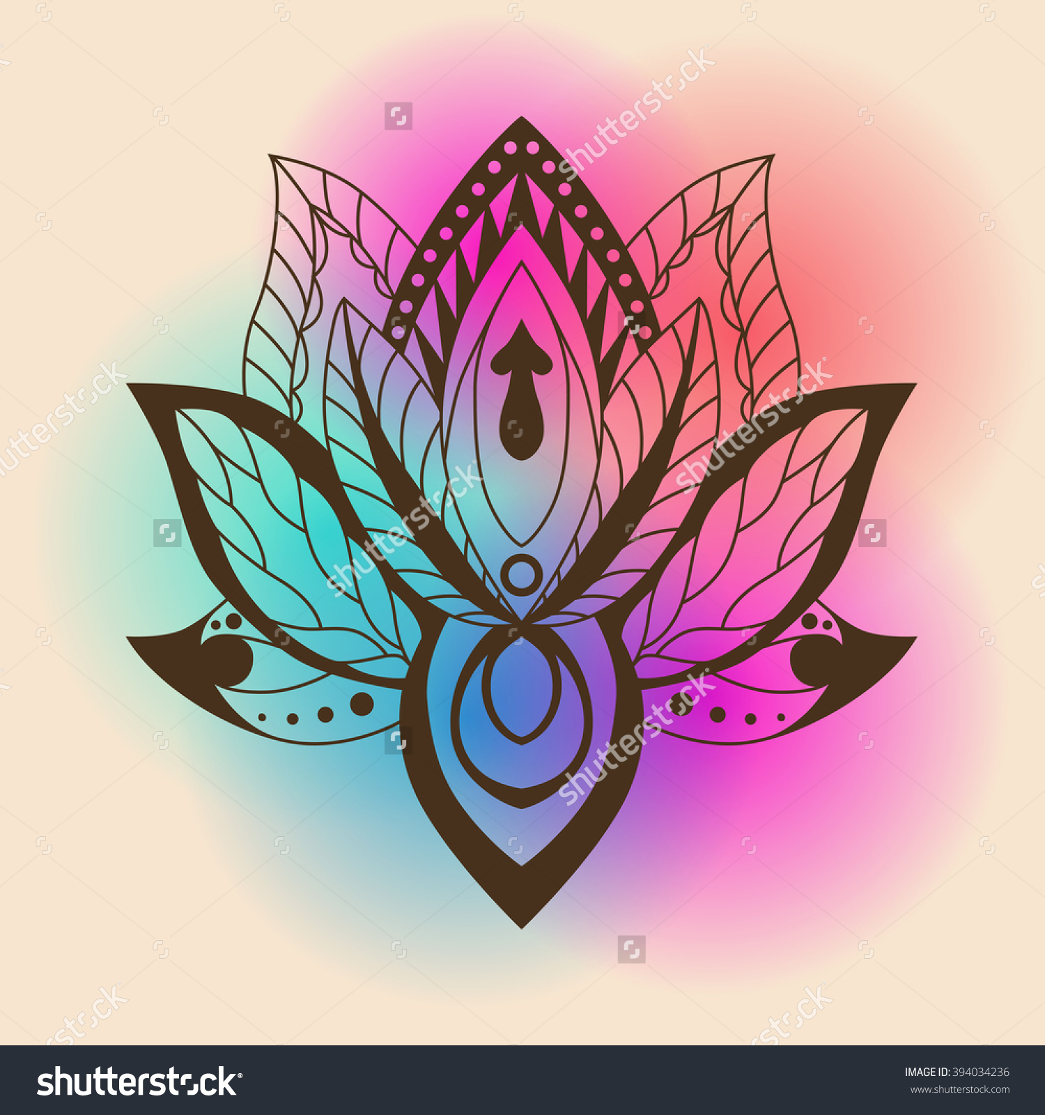 Lotus Mandala On Bright Background Vector Stock Vector 394034236.