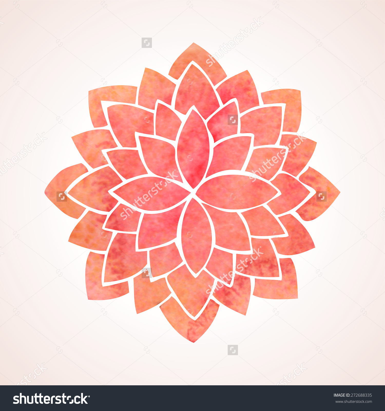 Watercolor Red Lotus Flower Mandala Oriental Stock Vector.
