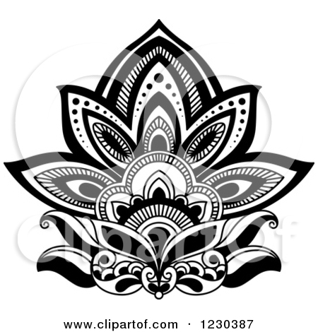 Clipart of a Black and White Henna Lotus Flower 3.