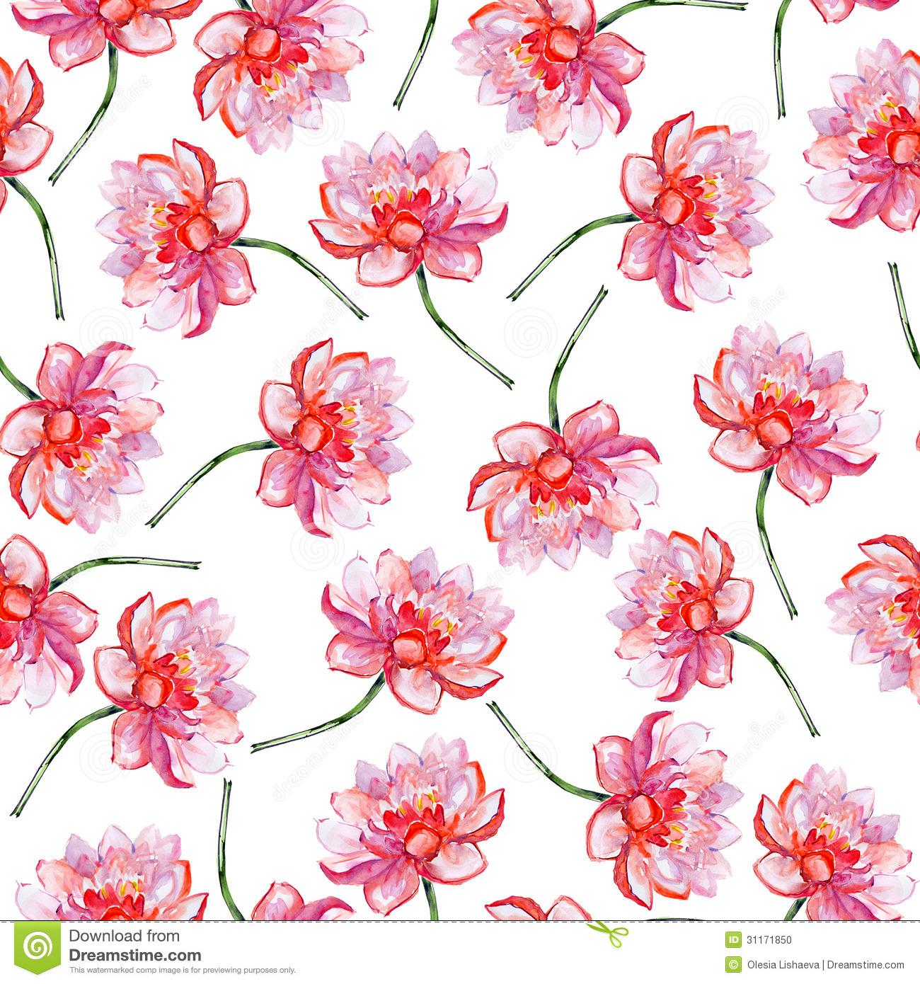 Lotus Flower Pattern. Stock Photo.