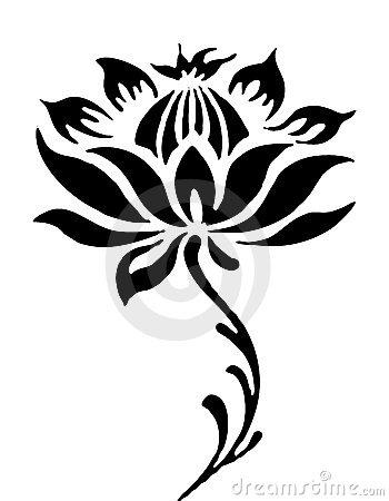 Illustration drawing of beautiful black lotus flower pattern.
