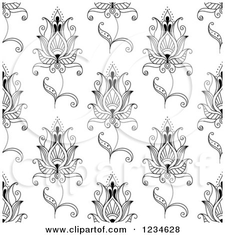 lotus flower pattern clipart #15