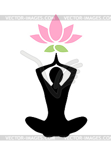 Yoga lotus icon.