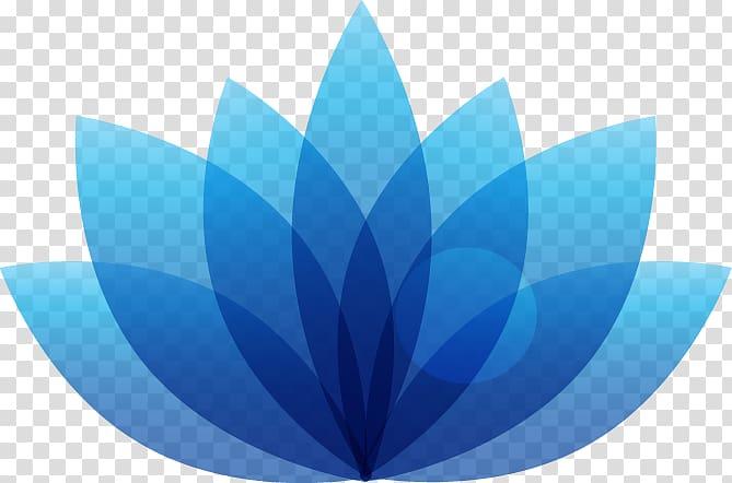 Blue lotus flower logo ill, Logo Nelumbo nucifera Icon, hand.