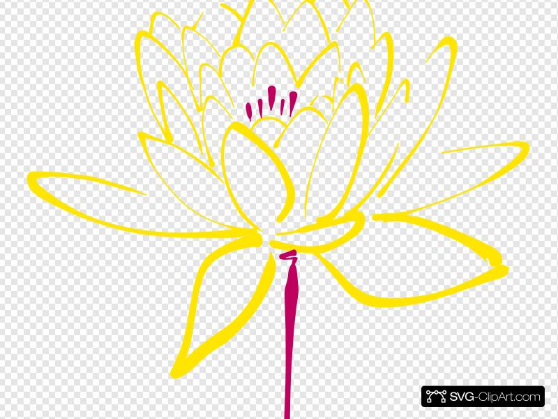 Pink Yellow Lotus Clip art, Icon and SVG.