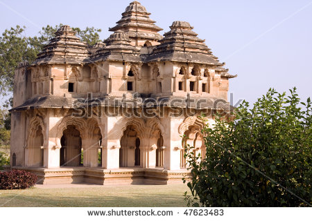Lotus Mahal Of Zanana Enclosure At Ancient Town Hampi, Karnataka.