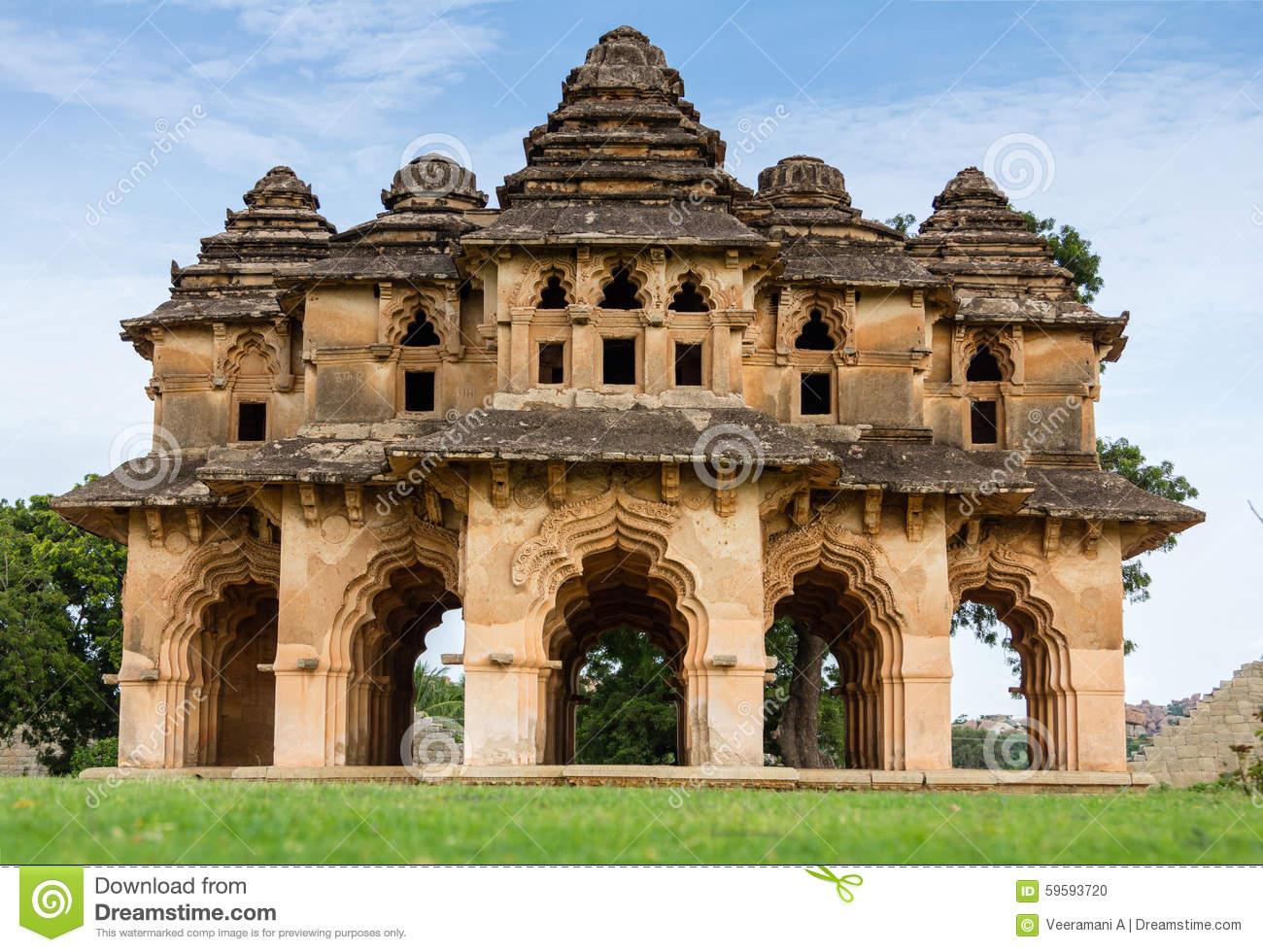 Lotus Mahal Of Hampi Ruins Stock Photo.