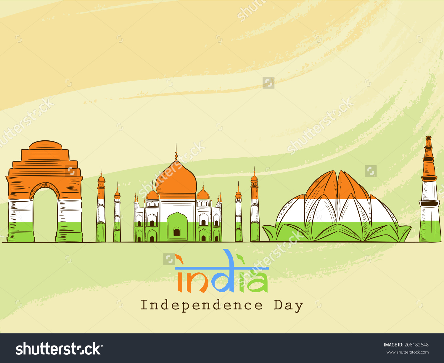 Indian Famous Monuments Red Fort Taj Stock Vector 206182648.