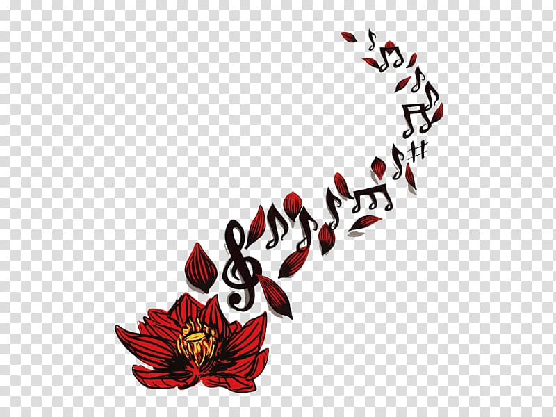 Sleeve tattoo Musical note Drawing, Red lotus notes spread.