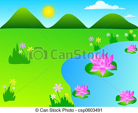 Clipart of Lotus pond.