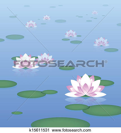 Clipart of Lotus pond k15611531.