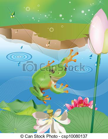Vectors of Jumping frog in pond with lotus and water lily in the.