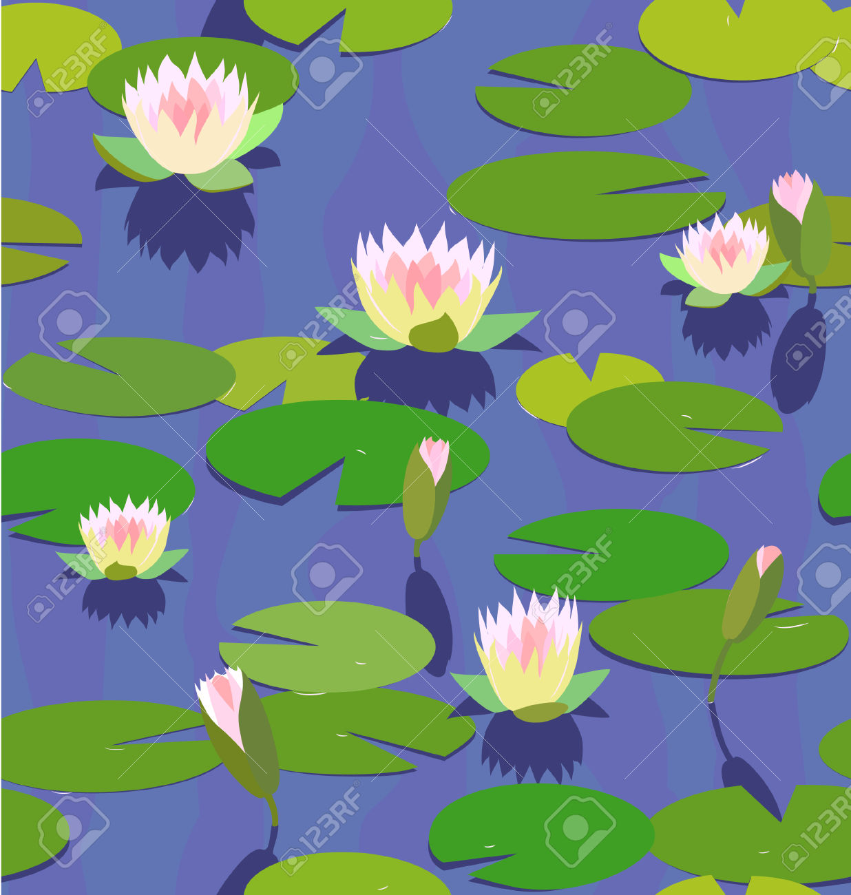 Water Lily Seamless Background Royalty Free Cliparts, Vectors, And.