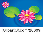 Clipart of a Green Magical Orb with Pink Water Lily Lotus Flowers.