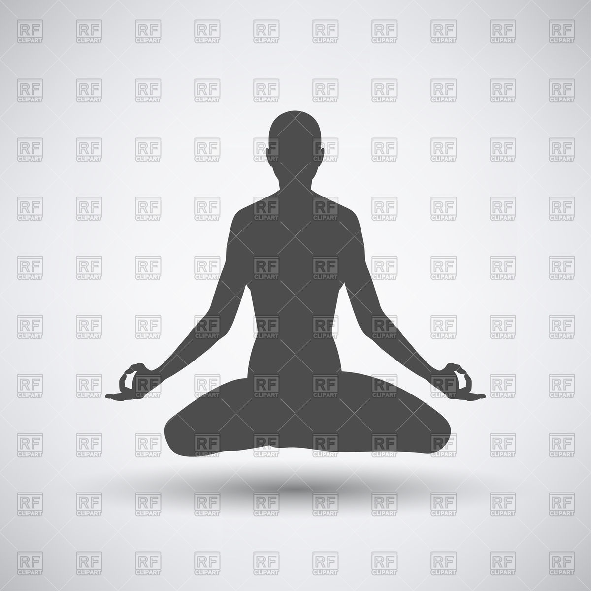 Silhouette of a man in the lotus position on a gray background.