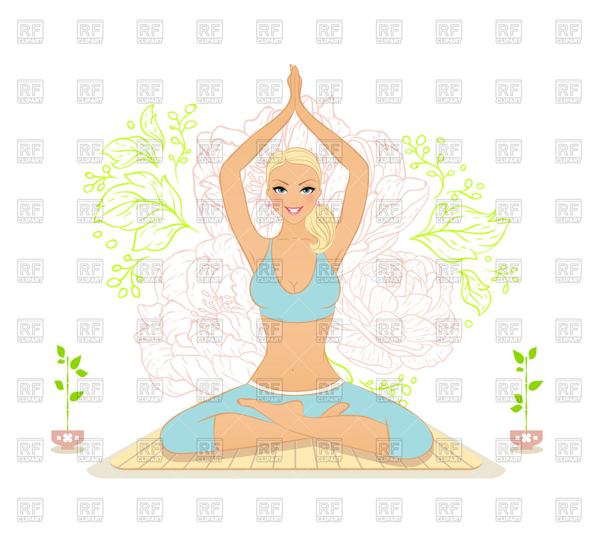 Beautiful smilling woman practicing yoga in the lotus position.