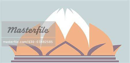 Temple in the shape of lotus flower, Lotus Temple, New Delhi.