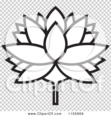 Clipart of a Black and White Outlined Lutus Water Lily Flower.