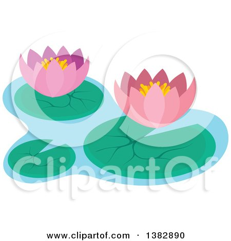 Clipart of Pink Lotus Water Lily Flowers and Pads.