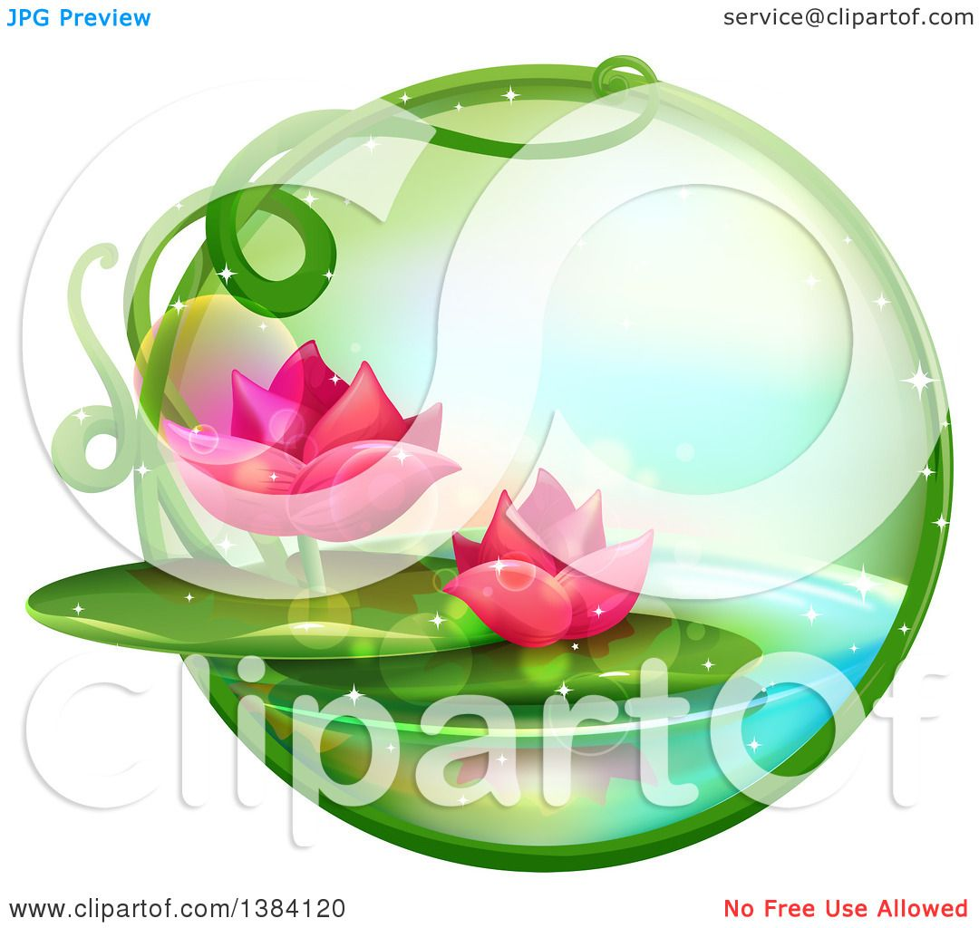 Lotus water lily flower clipart clipground clipart of a green magical orb with pink water lily lotus flowers izmirmasajfo