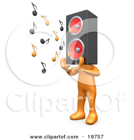 Clipart Graphic of a Group of Three Orange People With Music Note.