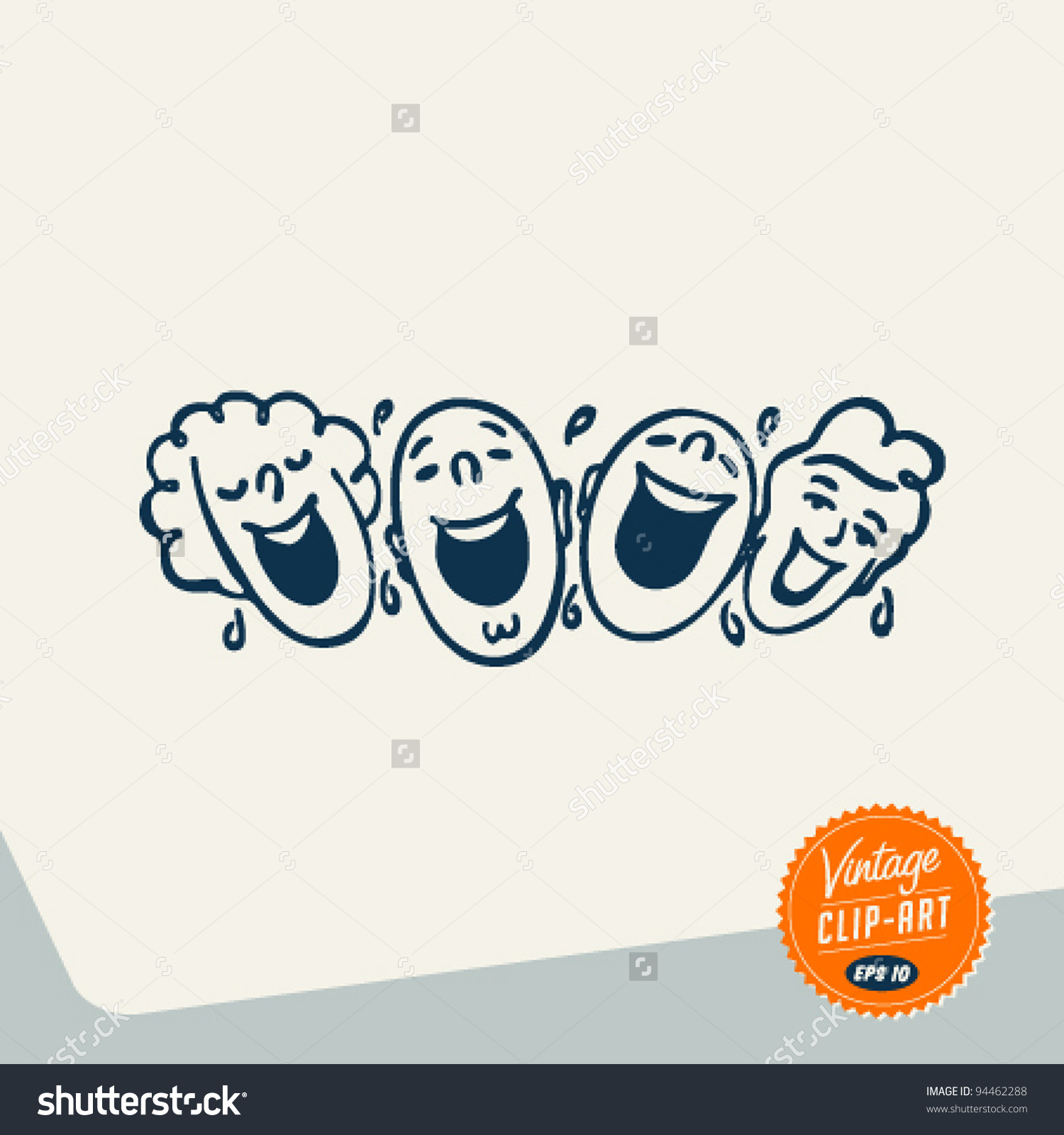Vintage Clip Art People Laughing Out Stock Vector 94462288.
