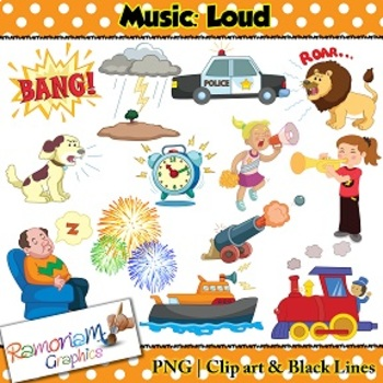 Music Concepts: Loud sounds Clip art.